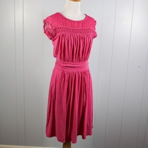 Boden Dark Pink Lace Yoke Dress